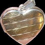 Vintage Sterling Vermeil Locket Pendant Heart