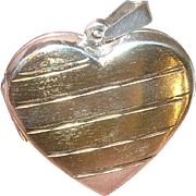 Vintage Sterling Vermeil Locket Pendant Heart