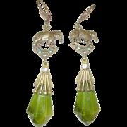 Vintage Czechoslovakian Earrings Art Glass Drops