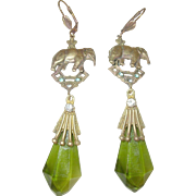 Vintage Czechoslovakian Earrings Art Glass Drops