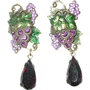 Vintage Czechoslovakian Earrings Grape Design