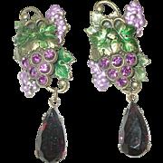 Vintage Czechoslovakian Earrings Grape Design