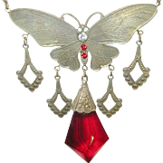 Vintage Czechoslovakian Necklace Butterfly Pendant