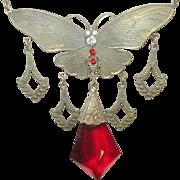 Vintage Czechoslovakian Necklace Butterfly Pendant