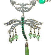 Vintage Czechoslovakian Necklace Dragon Fly Pendant