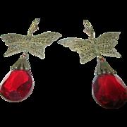 Vintage Czechoslovakian Art Glass Earrings Butterflies