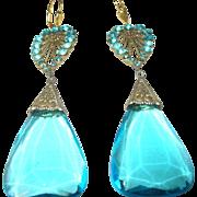 Vintage Earrings Czechoslovakian Art Glass