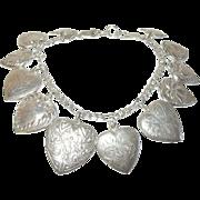 Vintage Sterling Charm Bracelet 12 Puffy Hearts