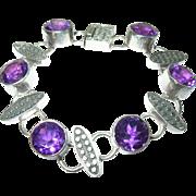 Vintage Link Bracelet Sterling Amethyst