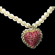 Coral Craft Pendant Brooch Necklace Heart Design