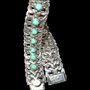 Vintage Link Bracelet Sterling Turquoise Mexican