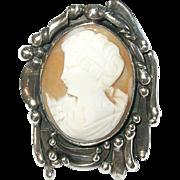 Vintage Sterling Lg Cameo Brooch/Pendant