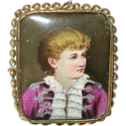 Antique Miniature Portrait Brooch/Pendant