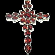 Vintage Sterling Cross/Pendant Garnets