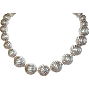 Vintage Sterling Lg Bead Necklace