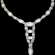Art Deco Sterling Teardrop Paperclip Necklace Faux Diamonds