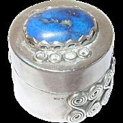 Vintage Sterling Blue Lapis Pill Box