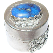 Vintage Sterling Blue Lapis Pill Box