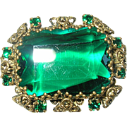 Vintage Brooch Lg Faux Emerald Filigree Work
