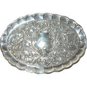 Antique Sterling Memorial Tray Repousse Work