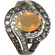 Vintage Sterling Ring Mexican Opal Faux Diamonds