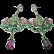Vintage Earrings Teardrop Crystal Art Nouveau Design