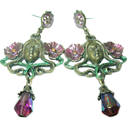 Vintage Earrings Teardrop Crystal Art Nouveau Design