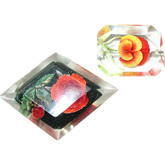 Vintage Two Lucite Brooches