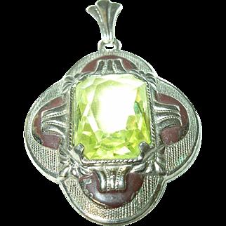 Vintage Pendant Enamel Yellow Glass Stone