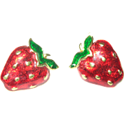 Vintage Earrings Strawberry Design Enamel Work
