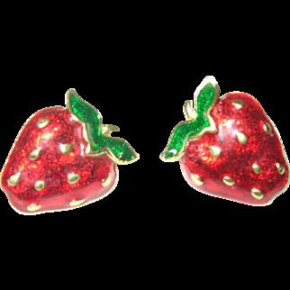 Vintage Earrings Strawberry Design Enamel Work