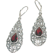 Vintage Earrings Sterling Garnet Openwork