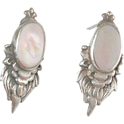 Vintage Sterling Earrings Oval Light Pink Mother-of-Pearl