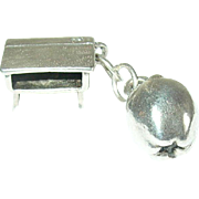 Vintage Sterling Charm Apple/School Desk