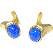 Vintage Gold Filled Cuff Links Blue Lapis by Givenchy