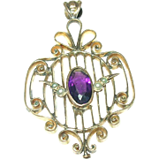 Edwardian Gold Filled Pendant Amethyst Salt Water Seed Pearls