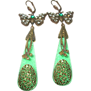 Vintage Czechoslovakian Drop Earrings Butterfly Design