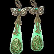 Vintage Czechoslovakian Drop Earrings Butterfly Design