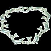 Vintage Sterling Link Bracelet Dolphins