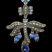 Vintage Czechoslovakian Necklace Pendant Dragonfly Design