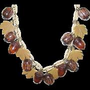 Vintage Bakelite/Lucite Acorn Necklace