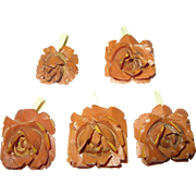 Vintage Bakelite Heavily Carved Pendants Set of 5