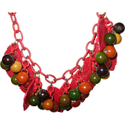 Vintage Bakelite Lucite Bibb Necklace