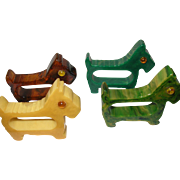 Vintage Bakelite Scottish Terrier Napkin Rings Set of 4