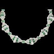 Art Deco Camphor Glass/Art Glass Bead Necklace