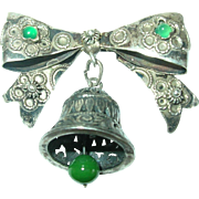 Vintage 800 Coin Silver Bell Brooch