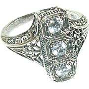 Vintage Sterling Filigree Ring Faux Diamonds