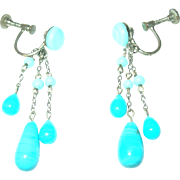 Vintage Drop Earrings Venetian Glass