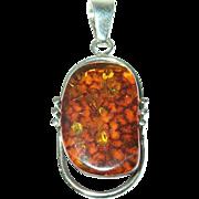 Vintage Baltic Amber Sterling Pendant