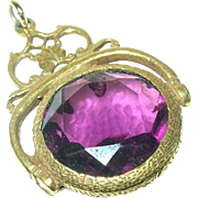 Victorian Gold Filled Pendant/Fob Faux Amethyst